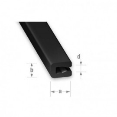 U entourage PVC noir 7 x 3 x 0,6 int.2 mm